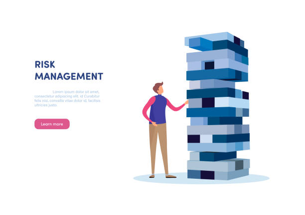 People vector illustration. Flat cartoon character. Landing page template. Risk management. Businessman gambling placing block stack on a tower. Business concept illustration vector stability stock illustrations