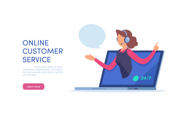 people vector illustration. flat cartoon character. landing page template. - call centre stock illustrations