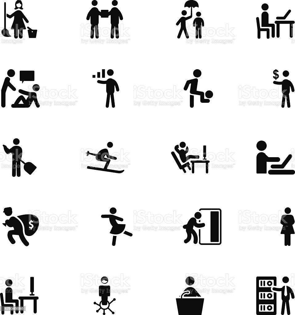 People Vector Solid Icons 5 vector art illustration