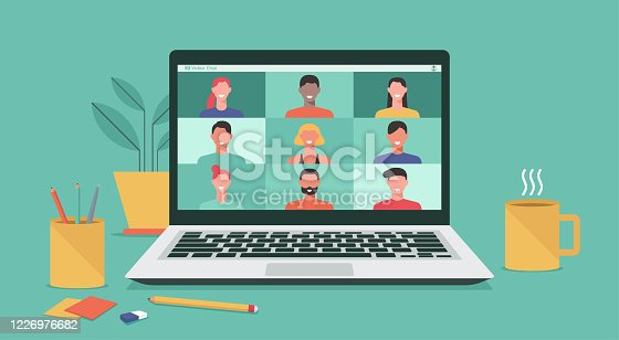 istock people video conference on laptop computer concept 1226976682