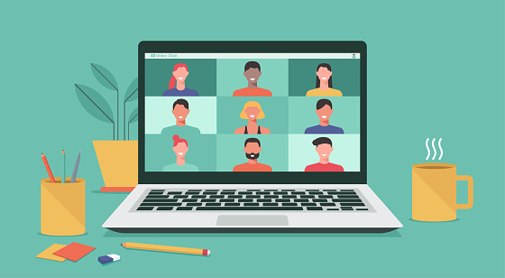 people connecting together, learning and meeting online with teleconference, video conference remote working on laptop computer, work from home and anywhere, new normal concept, vector illustration