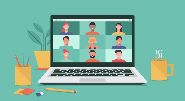 illustrazioni stock, clip art, cartoni animati e icone di tendenza di people video conference on laptop computer concept - new normal