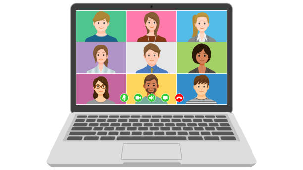 People video conference on laptop computer vector art illustration