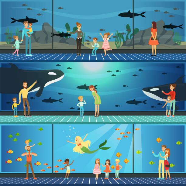 ベクトル イラスト、海の動物、水中風景を見て子供を持つ親の海洋水族館セットを訪問している人々 - 水族館点のイラスト素材/クリップアート素材/マンガ素材/アイコン素材