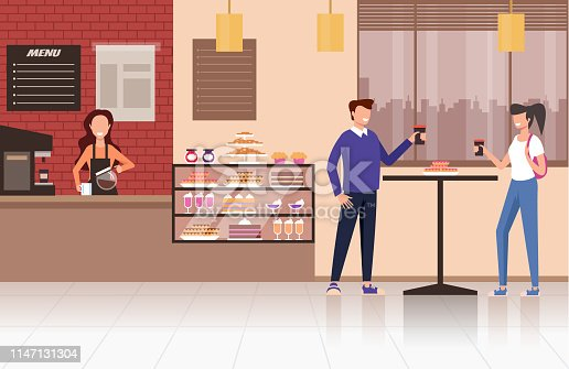 People visitors drinking coffee tea in coffee shop cafe. Street food concept. Vector design flat graphic cartoon illustration