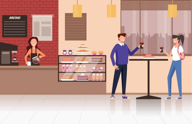 ilustraciones, imágenes clip art, dibujos animados e iconos de stock de personas visitantes bebiendo té de café en café cafetería. concepto de comida callejera. diseño vectorial ilustración de dibujos animados gráficos planos - barista