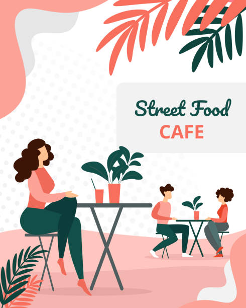 People Visitors Sitting in Modern Summer Time Cafe People Visitors Sitting in Modern Summer Time Street Food City Cafe. Man and Woman Dating on Restaurant Terrace, Leisure on Outdoor Cafeteria Exterior Cartoon Flat Vector Illustration, Vertical Banner patio stock illustrations