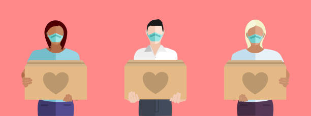 People Volunteering To Help Others Concept Vector Multicultural people volunteering to help others in need with boxes of donations during the COVID-19 coronavirus pandemic charitable donation stock illustrations