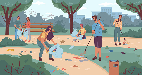 People volunteers cleaning up city park flat cartoon characters. Vector team of active adults and kids pickup rubbish into bags. Environment protection. Man woman collecting garbage together use rake