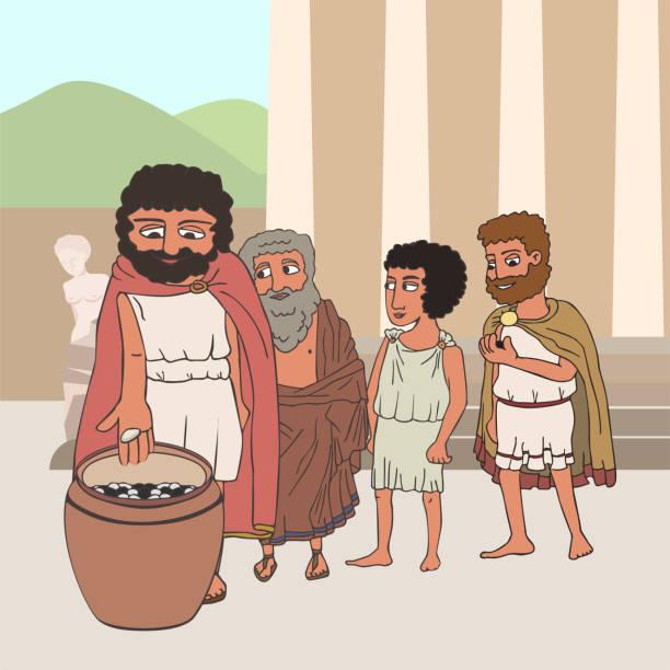 menschen, die in der alten griechischen karikatur wählen - paphos stock-grafiken, -clipart, -cartoons und -symbole