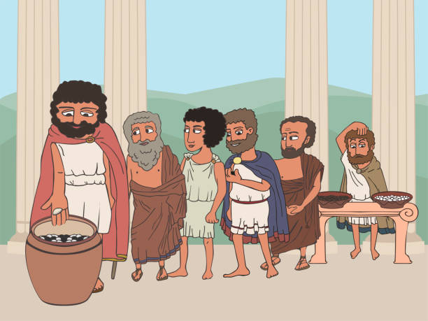 menschen, die in der alten greece polis karikatur wählen - paphos stock-grafiken, -clipart, -cartoons und -symbole