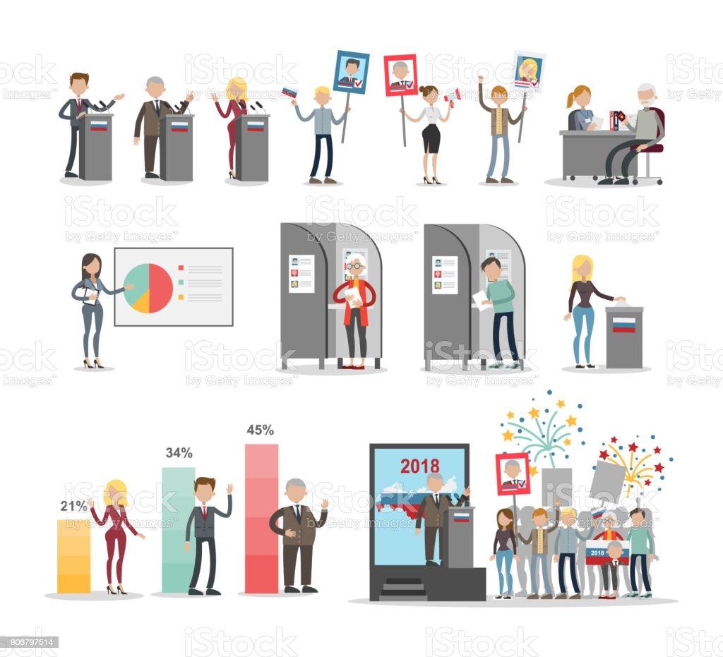 People voting set. vector art illustration