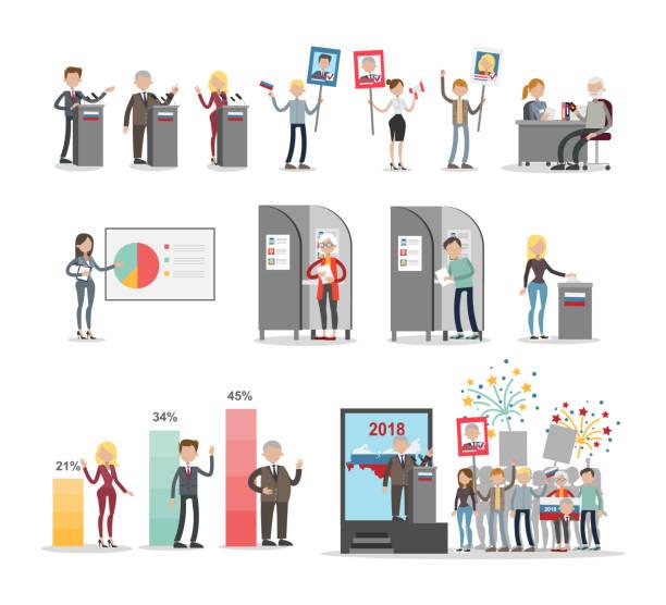 ilustraciones, imágenes clip art, dibujos animados e iconos de stock de la gente voto conjunto. - polling place