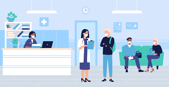 People wait in hospital hall interior vector illustration, cartoon flat patient woman man characters in masks sitting in doctor reception room