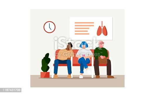 People waiting at hospital vector illustration. Flat diverse characters - old man with eyeglasses, young woman with blue hair and cellphone, young African man. Medical healthcare concept.