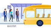 People waiting for arriving bus at bus stop. City public transportation poster with yellow bus and three passengers waiting in line to enter the vehicle