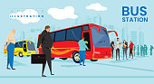 People waiting for bus in bus station. stylish vector illustration drawing