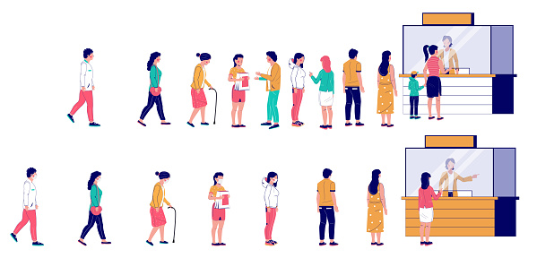 People waiting in line at ticket box, vector flat illustration