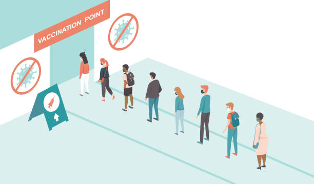People waiting in line queued up for vaccination at Coronavirus testing or vaccine center.Covid-19 treatment point. vector art illustration