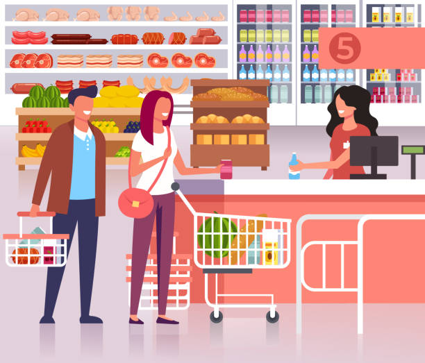 People waiting in line to cash in supermarket store. Vector flat cartoon graphic design illustration vector art illustration