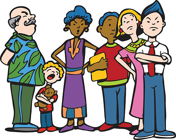 people waiting in line - old man crying cartoon stock illustrations, clip art, cartoons, & icons