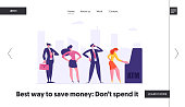 People Waiting in Queue Near ATM Website Banner. Cash Machine Concept with Man and Woman Standing in Line. Financial Transaction Landing Page. Vector flat illustration