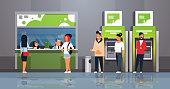 people waiting line queue cashier cash desk window financial center money transactions customer service modern bank office interior ATM banking equipment horizontal flat vector illustration