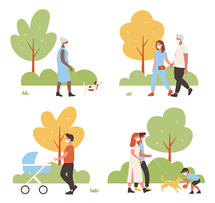 People walk in city park set with cartoon active family characters wearing face mask