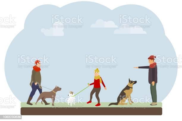People walk their dogs in the park people train and walk their dogs vector id1063230536?b=1&k=6&m=1063230536&s=612x612&h=4ggmt6zmf1p epaivrzxtveqlelku4rwyr52objb7b0=