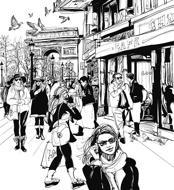 ilustraciones, imágenes clip art, dibujos animados e iconos de stock de gente caminando en la avenida de los campos elíseos en parís - señalización vial