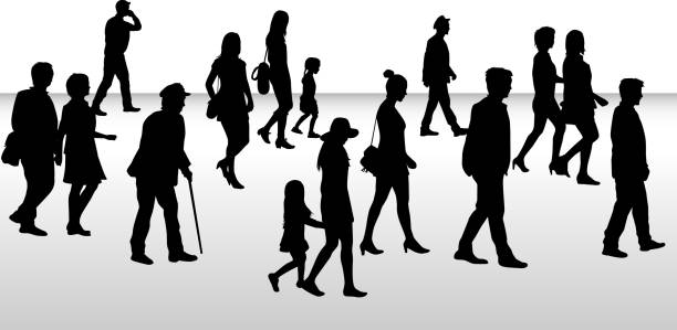 people walking, black silhouettes. - old man clipart stock illustrations, clip art, cartoons, & icons
