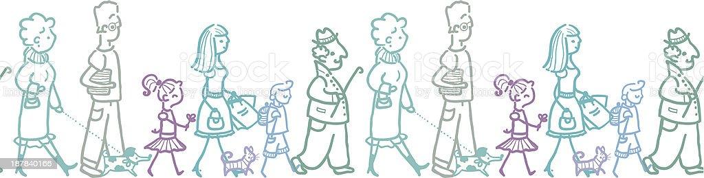 People walking horizontal seamless pattern background border royalty-free stock vector art