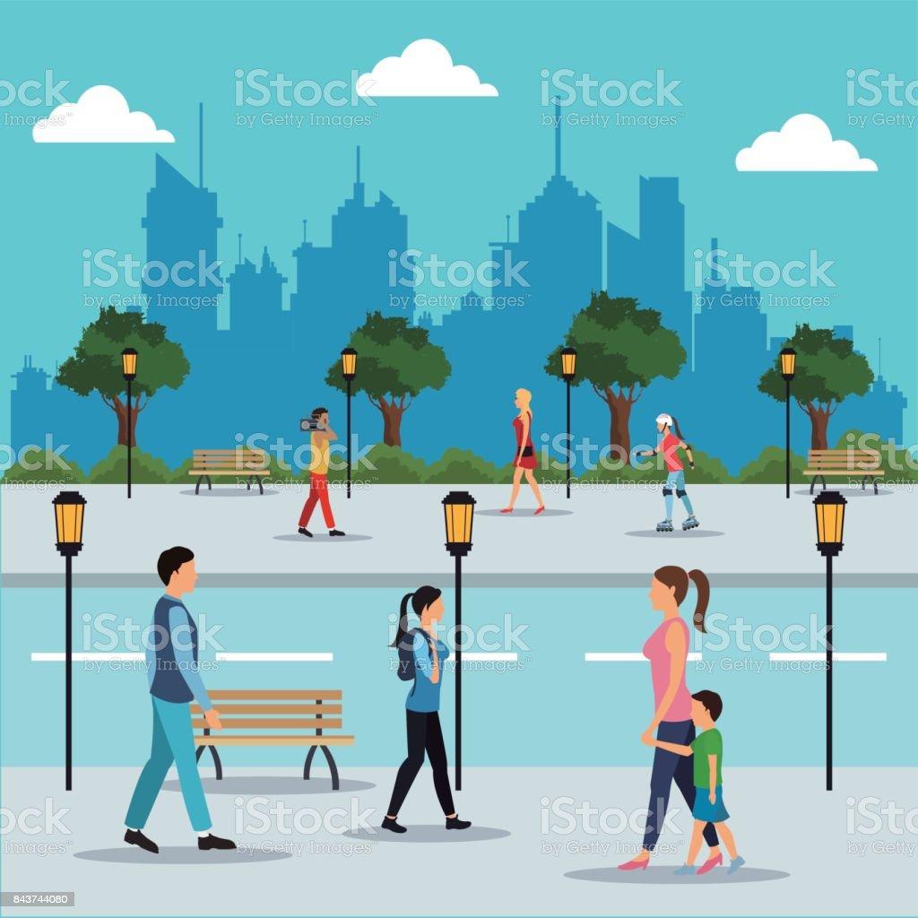 people walking in street city royalty-free people walking in street city stock illustration - download image now