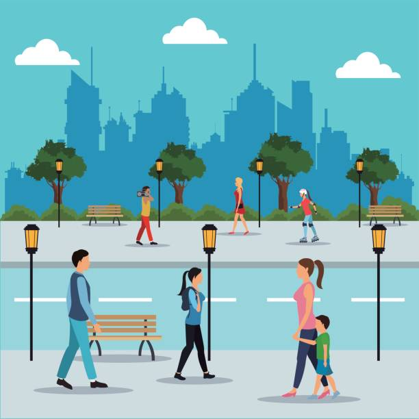 illustrazioni stock, clip art, cartoni animati e icone di tendenza di people walking in street city - marciapiede
