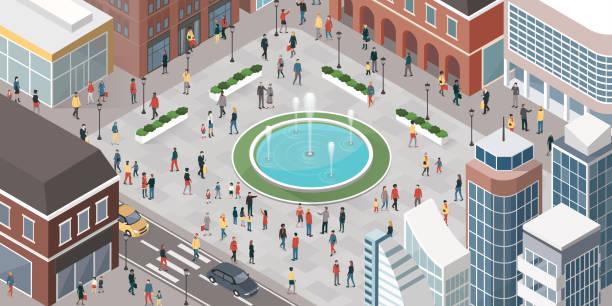 人々徒歩での - 人 俯瞰点のイラスト素材/クリップアート素材/マンガ素材/アイコン素材