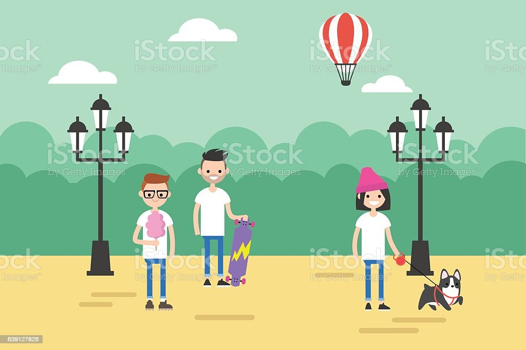 People walking in the park during the day vector art illustration