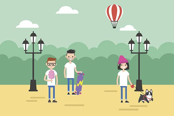 illustrazioni stock, clip art, cartoni animati e icone di tendenza di people walking in the park during the day - city walking background