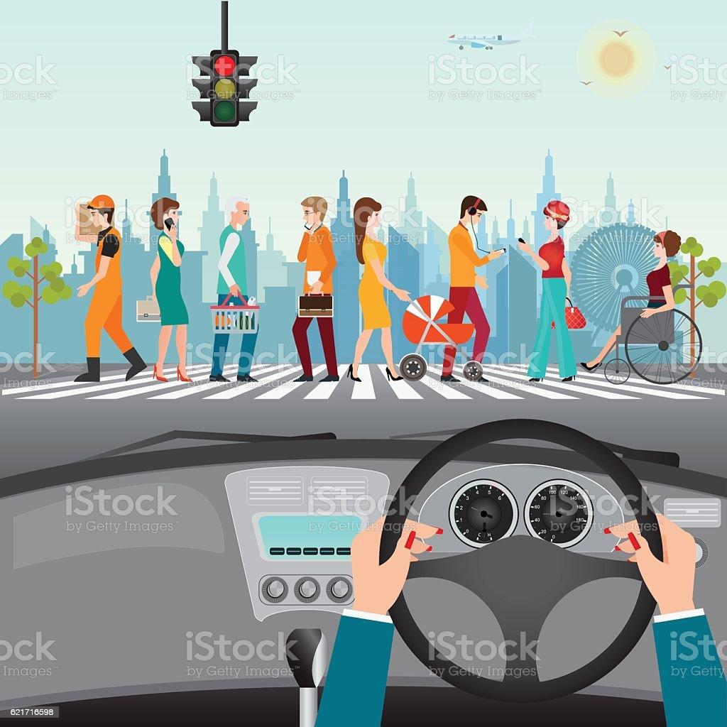 People walking on the crosswalk. vector art illustration