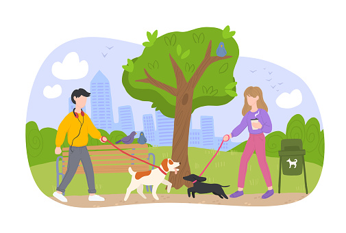 People Walking Pets in the Park