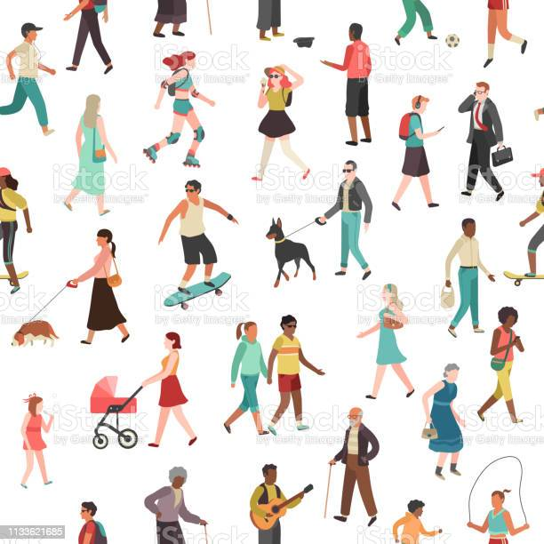 People walking seamless pattern women men children group person walk vector id1133621685?b=1&k=6&m=1133621685&s=612x612&h= d3wjbsr34iq067uuycfsj0h0psj67vejvqxe9vx j0=
