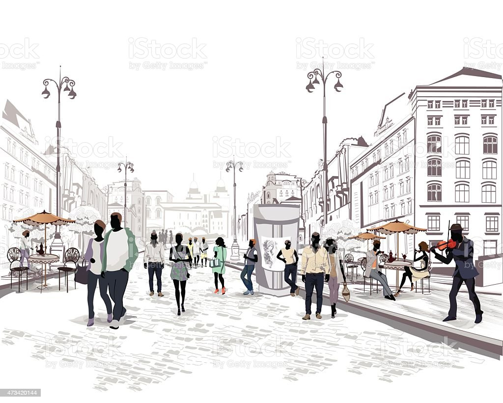 People walking the streets vector art illustration