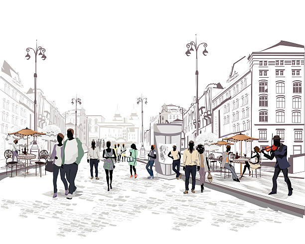 people walking the streets - london fashion stock illustrations, clip art, cartoons, & icons