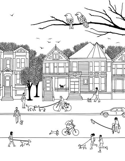 menschen, die ihre hunde - städtische mode stock-grafiken, -clipart, -cartoons und -symbole