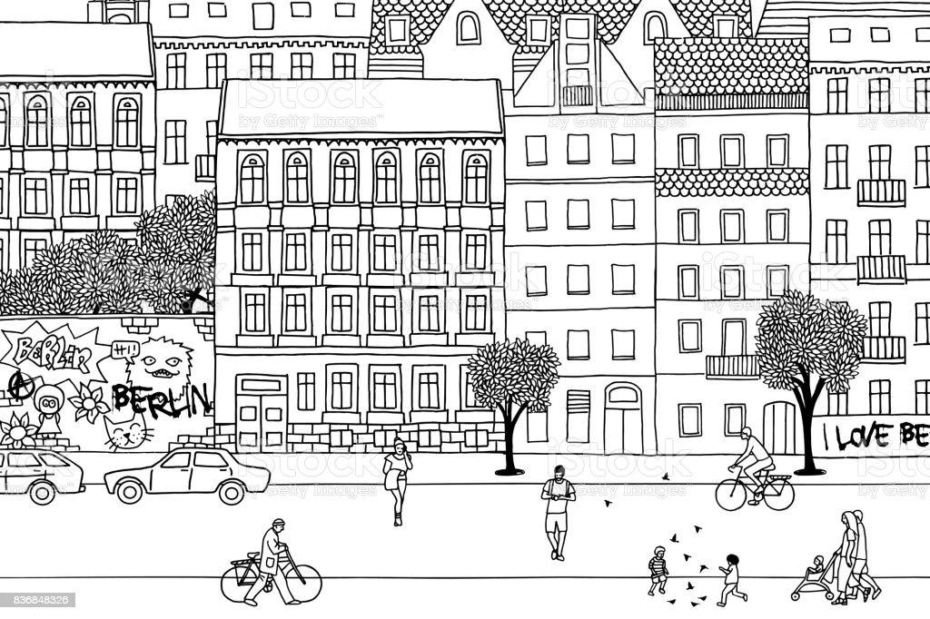 People walking through Berlin vector art illustration