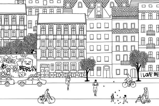 bildbanksillustrationer, clip art samt tecknat material och ikoner med människor går genom berlin - berlin street