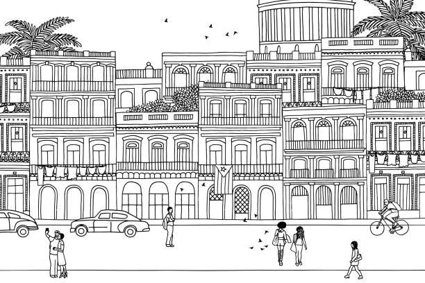 街を歩いている人々 - 都市 モノクロ点のイラスト素材/クリップアート素材/マンガ素材/アイコン素材