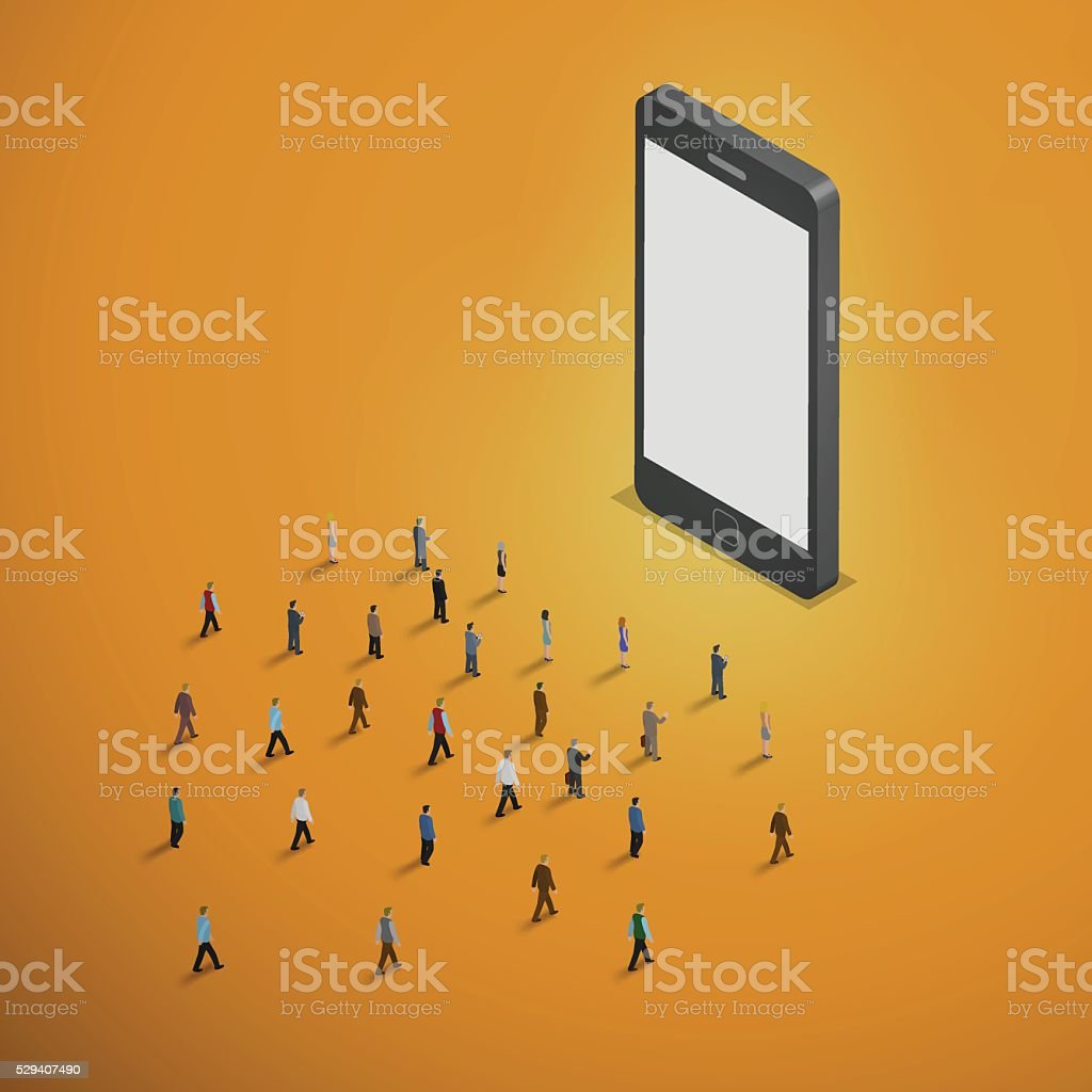 people walking to smart phone. vector art illustration
