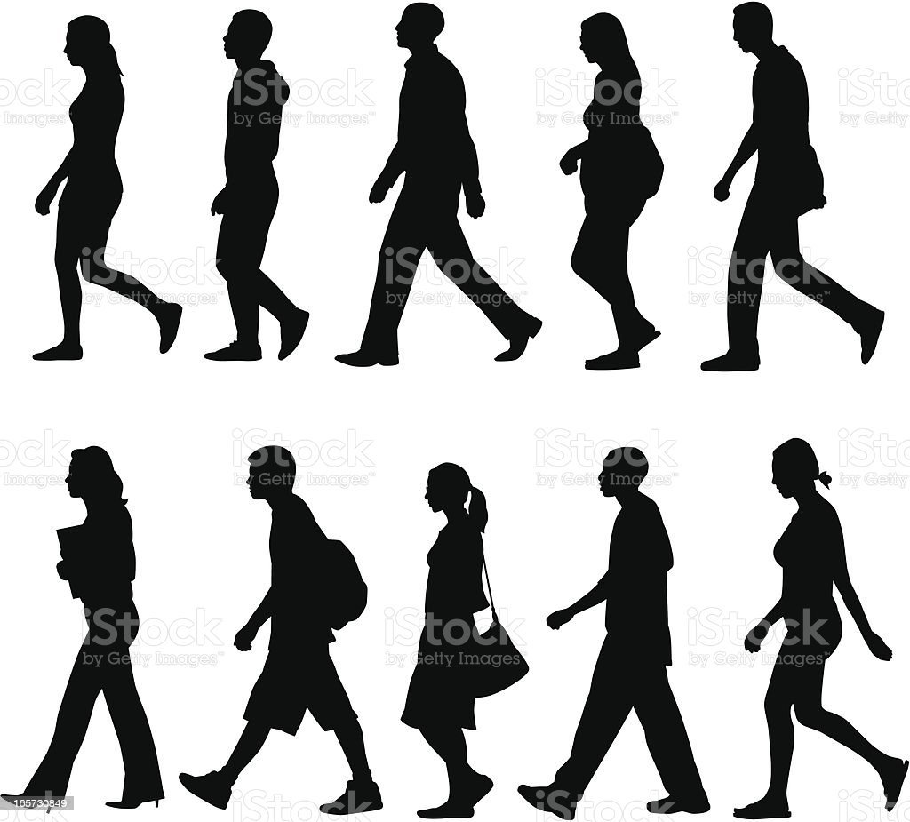 People Walking vector art illustration