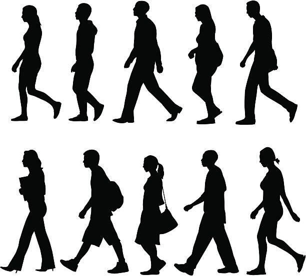 People Walking Silhouettes of people walking. following moving activity stock illustrations