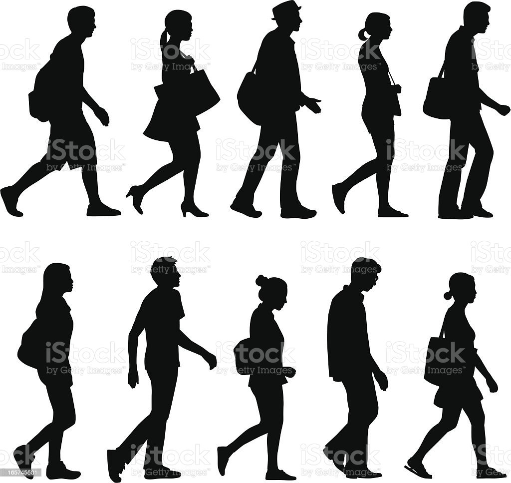 People Walking vector art illustration